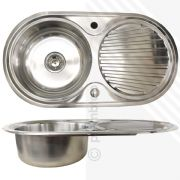 Single Bowl 1.0 Stainless Steel Inset Kitchen Sink Round Reversible +Waste Clips